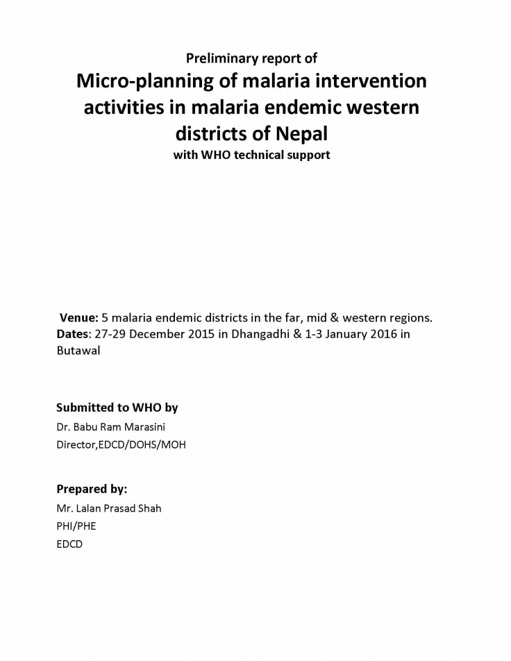 Micro-planning of malaria in 5 endemic districts